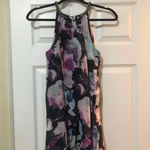 Jessica Simpson floral chiffon with jewel neck